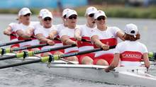 Canada's Lesley Thompson-Willie, Andreanne Morin, Darcy Marquardt, Ashley Brzozowicz, Natalie Mastracci, Lauren Wilkinson, Krista Guloien, Rachelle Viinberg, and Janine Hanson row on their way to winning the silver medal for the women's rowing eight in Eton Dorney, near Windsor, England, at the 2012 Summer Olympics, Thursday, Aug. 2, 2012. Their shell was made by London, Ont.-based Hudson Boat Works. (Armando Franca/AP)