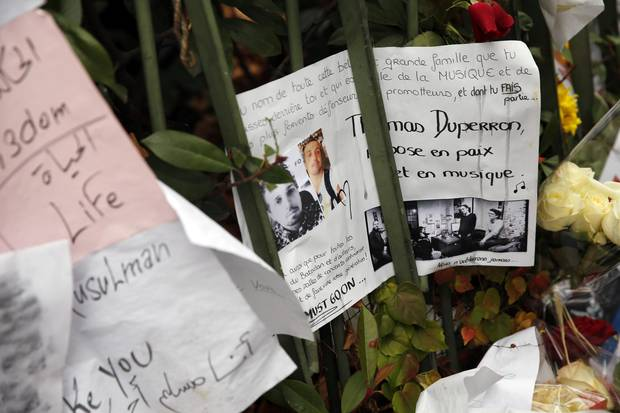 "A memorial for Thomas Duperron in Paris reads ""rest in peace and in music."""