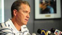 Tom Glavine speaks with the media on Friday, two days after the pitcher was released by the Atlanta Braves. (Paul Abell/Paul Abell/AP Photo)