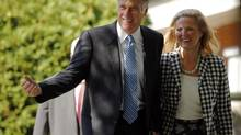 Republican presidential candidate and former Massachusetts Governor Mitt Romney and his wife Ann (R) arrive for services at The Church of Jesus Christ of Latter-Day Saints in Wolfboro, New Hampshire August 26, 2012. (BRIAN SNYDER/REUTERS)