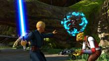 Players control the Force with their left hands in Kinect Star Wars. (LucasArts)