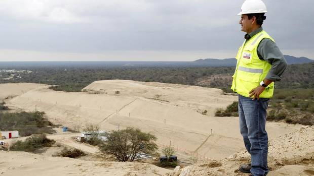 Giovanni Palacios, director and lead engineer of the Olmos Irrigation Project, stands over a construction area of the project in Peru's northwestern region of Lambayeque, in this March 15, 2013 file photo. (ENRIQUE CASTRO-MENDIVIL/REUTERS)