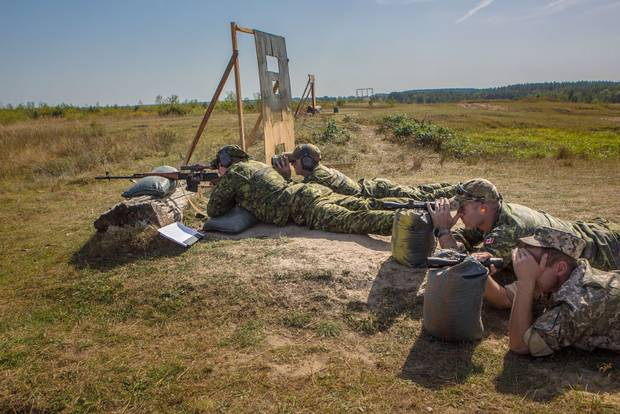 Snipers undergo training in Yavoriv, Ukraine.