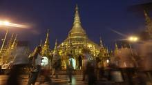 The glittering Shwedagon Pagoda, in Yangon, Myanmar. (Altaf Qadri/Associated Press)