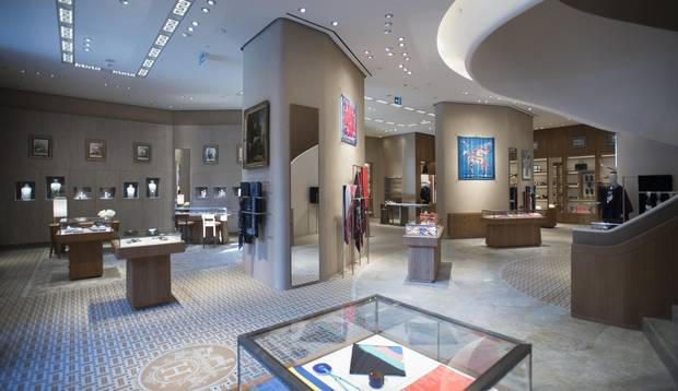 Interiors of the new Hermès store on Bloor St. West in Toronto.