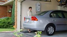 The Phill home refueling appliance, made by FuelMaker Corporation, is available for lease from authorized Honda CNG dealers in California on a limited retail sales basis. The natural gas refueling appliance allows drivers of the natural gas-powered Honda Civic GX to refuel their cars at home using an existing natural gas supply. (Honda)