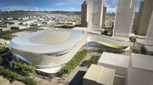 A rendering of the proposed new arena for the Edmonton Oilers, looking east from above the corner of 104th Street and 104th Avenue.