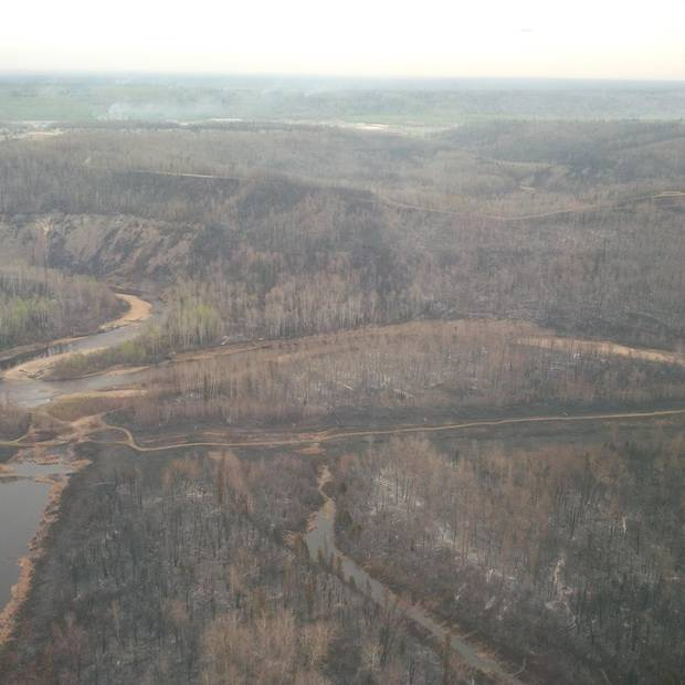 An ariel shot of part of the forest consumed by the Fort McMurray fire.