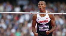 Canada's Damian Warner reacts after a successful attempt during his men's decathlon high jump event during the London 2012 Olympic Games at the Olympic Stadium August 8, 2012. (MARK BLINCH/REUTERS)