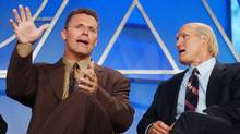 Howie Long (left) and Terry Bradshaw, analyst and co-host respectively of Fox NFL Sunday: Fox's new sports channel is a shrewd move. (JIM RUYMEN/REUTERS)