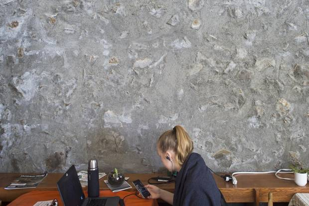 'Rubble' concrete walls are found throughout Champlain College.