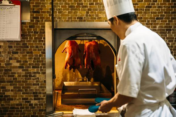 Chang'An Restaurant in Vancouver, which offers a highly-rated Peking duck dish, prepares its menu in a custom, 1.800 kilogram stone oven built into the wall.