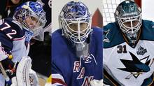 Sergei Bobrovsky of the Columbus Blue Jackets, Henrik Lundqvist of the New York Rangers and Antti Niemi of the San Jose Sharks
