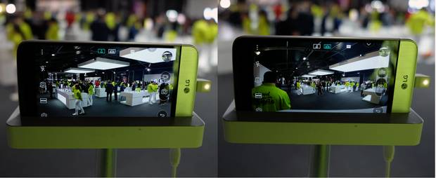 The LG G5 features two camera angles – a standard 75-degree angle and an ultra-wide 135-degree angle.