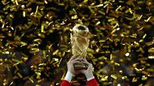 The World Cup trophy is seen in Johannesburg July 11, 2010. (KAI PFAFFENBACH/REUTERS)