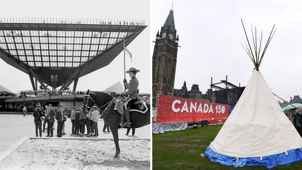1967: A Mountie stands guard at the inverted pyramid – dubbed Katimavik, which means 'gathering place' in Inuktitut – at Expo 67's Canadian pavilion. 2017: A teepee erected by Indigenous demonstrators keeps watch over Canada 150 celebrations on Parliament Hill.