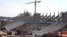 A March 6, 2012 file photo shows the new soccer stadium under construction in Sao Paulo, Brazil. The stadium, expected to seat as many as 65,000, will host the opening match of the World Cup in 2014. (Andre Penner/AP)