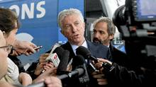 Bloc Quebecois leader Gilles Duceppe speaks to reporters during a campaign stop in Montreal, Tuesday, April 26, 2011. (Graham Hughes/The Canadian Press/Graham Hughes/The Canadian Press)