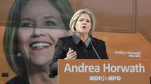 Andrea Horwath speaks at a campaign stop in Toronto on Wednesday May 7, 2014. (Frank Gunn/THE CANADIAN PRESS)