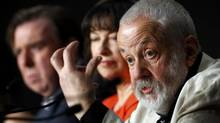 "Director Mike Leigh (R), cast members Marion Bailey (C) and Timothy Spall (L) attend a news conference for the film ""Mr. Turner"" in competition at the 67th Cannes Film Festival in Cannes May 15, 2014. (ERIC GAILLARD/REUTERS)"