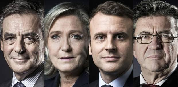 French presidential candidates François Fillon, Marine Le Pen, Emmanuel Macron and Jean-Luc Mélenchon.