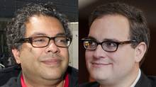 Naheed Nenshi and Ezra Levant. (LARRY MACDOUGALL AND CHRIS BOLIN FOR THE GLOBE AND MAIL)