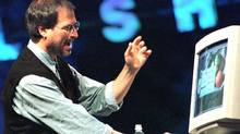 Steve Jobs, former CEO of Apple Computer, talks about color accuracy on computers at the Seybold publishing conference Thursday, Oct. 2, 1997, in San Francisco. (Thor Swift/AP Photo/Thor Swift)