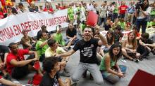Teachers and students boycott the opening of the academic year at the University of Valencia to protest against educational cuts, September 21, 2012. (HEINO KALIS/REUTERS)