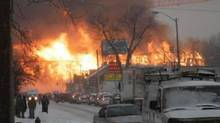 Fire in Kingston ravages construction site on Dec. 17, 3013. (Kingston Traffic @YGKTraffic)