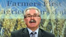 Agriculture Minister Gerry Ritz holds a news conference in Ottawa ahead of the final House of Commons vote on eliminating the Canadian Wheat Board's monopoly over western grain sales on Nov. 28, 2011. (FRED CHARTRAND/Fred Chartrand/The Canadian Press)