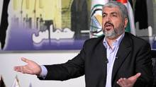 Hamas leader Khaled Meshaal talks about a prisoner swap between Hamas and Israel at his office in Damascus Oct.11, 2011. (© Ho New / Reuters/REUTERS)