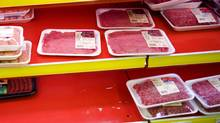 Photograph of freezer shelves with less number of meat products in a August 2008 file photo. The public is being warned to check all ground beef products in their freezers as a growing country-wide recall due to possible E.coli contamination affects a number of brands. (Sami Siva for The Globe and Mail/Sami Siva for The Globe and Mail)