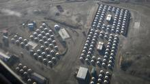 An aerial view of traditional Mongolian tents, or ghers, which will house workers at Mongolia's Oyu Tolgoi copper and gold deposit. (STAFF/REUTERS)