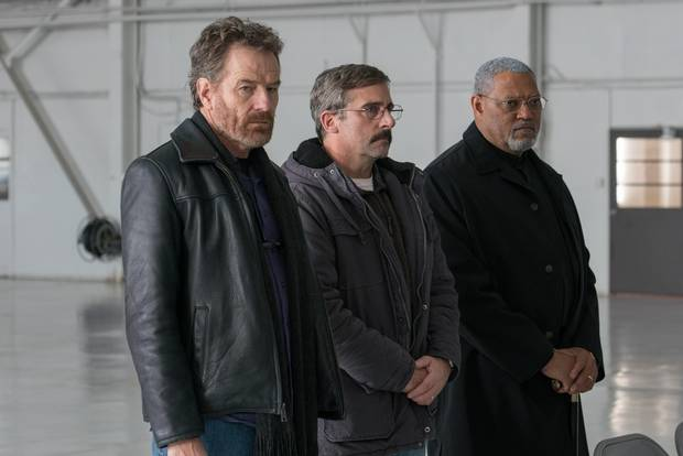Bryan Cranston, Steve Carrell and Laurence Fishburne in Last Flag Flying.