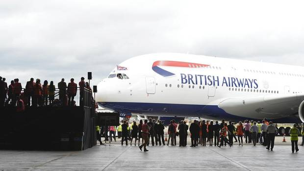 British Airways took delivery of its first Airbus A380 on Thursday at London's Heathrow airport. The commercial jet is the world's largest. (PAUL HACKETT/Reuters)