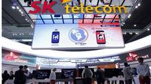 A view shows the SK Telecom booth at the Mobile World Congress in Barcelona, February 26, 2013. The GSMA Mobile World Congress, representing the interests of the worldwide mobile communications industry, takes place from February 25 to 28 in Barcelona. (ALBERT GEA/REUTERS)