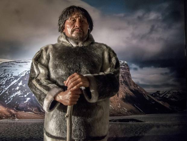 Nuvumiutaq, the Arctic Bay kayaker. A vivid scientific reconstruction, based on human remains, of the face and figure of an Inuk man who lived about 800 years ago.