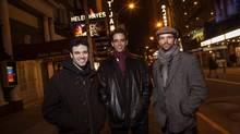 Jake Epstein, Nick Cordero and Paul Nolan at Sardi's in New York, NY January 17, 2014. (ERIC THAYER for The Globe and Mail)