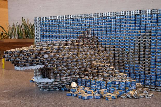 A shark scupture for Diamond Schmitt's Canstruction event.