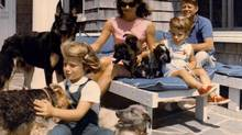 The family of President John F. Kennedy vacations in this undated photo. From left: Caroline, first lady Jacqueline Kennedy, John Jr. and President John F. Kennedy. (AP)