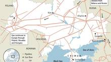 The energy needs of Russia, Ukraine and western Europe are intertwined, as this pipeline network shows. About 80 per cent of Russian gas exports to Europe pass through Ukraine; Europe depends on Russia for 40 per cent of its imported fuel.