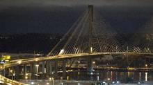 The Port Mann bridge is void of traffic during rush hour in Coquitlam, British Columbia on December 19, 2012. Falling ice chunks which reportedly hit cars caused the RCMP to close the bridge temporarily. (Ben Nelms for The Globe and Mail)