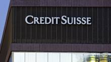 The March 12, 2012 file photo shows a building of Swiss bank Credit Suisse in Zurich, Switzerland. (ALESSANDRO DELLA BELLA/AP)