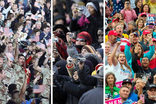 Desert Storm veterans cheer for George H.W. Bush at Andrews Air Force Base in Maryland on April 3, 1991; a crowd takes photos of Barack Obama at his inauguration parade in Washington on Jan. 20, 2009; Trump supporters cheer at a rally in Mobile, Ala., on on Dec. 17, 2016.
