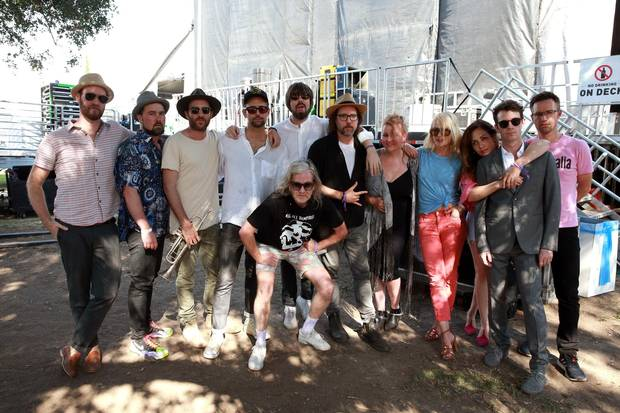 Broken Social Scene poses backstage during Arroyo Seco Weekend in Pasadena, California last month.