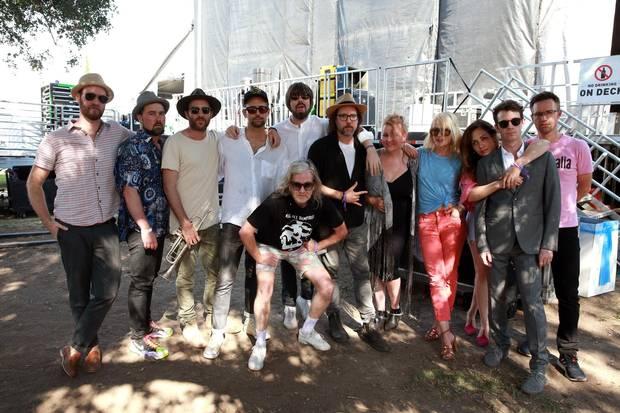 Broken Social Scene poses backstage during Arroyo Seco Weekend in Pasadena, California last month.