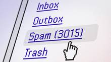 Computer generated email screen showing excessive spam detail with pointer. (iStockphoto)
