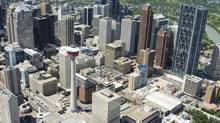 An aerial shot of downtown Calgary looks northwest towards the Calgary tower and the new Bow building on the right. (Chris Bolin For The Globe and Mail)