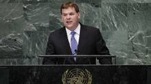 Canadian Foreign Minister John Baird addresses the 67th United Nations General Assembly at the U.N. headquarters in New York October 1, 2012. (Lucas Jackson/Reuters)