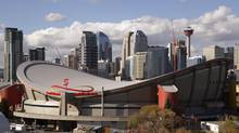 The Scotiabank Saddledome where the Calgary Flames play, pictured on Oct. 4, 2012. The NHL team has examined several locations for a new facility throughout the city, according to sources, and has had architects draw up designs. (Todd Korol For The Globe and Mail)